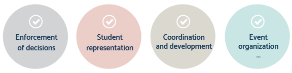 Enforcement of decisions, student representation, coordination and development, event organization etc.